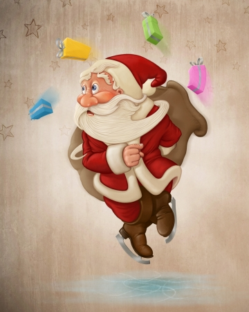 old man: Santa Claus jumping on ice with ice-skates Stock Photo