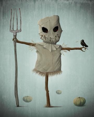 espantapajaros: El espantapájaros y calabazas para la noche de Halloween espeluznante