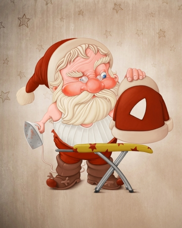 iron fun: Santa Claus with flatiron and the burned jacket Stock Photo