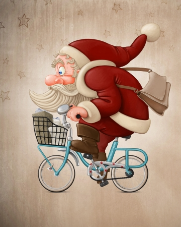 old man: Santa Claus rides a bicycle to delivery the gifts