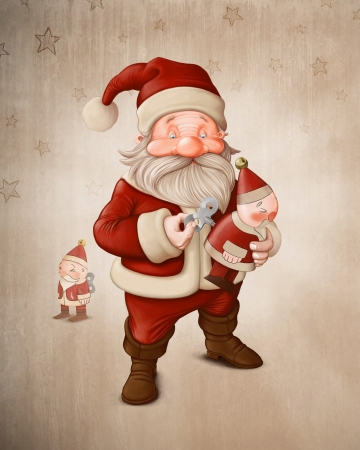 charge: Santa Claus charge a her mechanical doll Stock Photo
