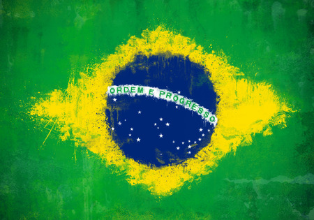 Grunge and ruined painted Brazilian flag