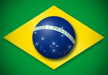 tridimensional: Brazilian flag simulated tridimensional globe with shadow and lights Stock Photo