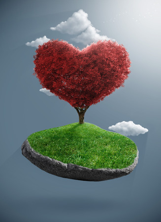 suspend: Heart tree born to the suspended rock Stock Photo