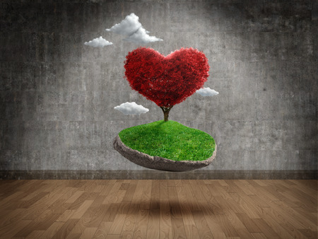 suspend: Suspended heart shape tree in Empty room Stock Photo