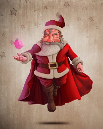 Santa Claus super hero with red cape and the gift box