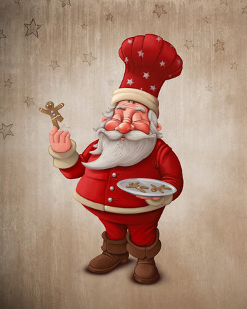 natale: Santa Claus pastry cook with gingerbread man cookies