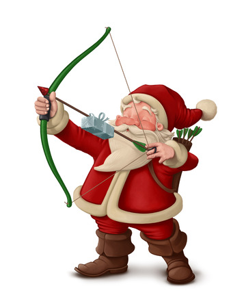 Santa Claus archer with the gift on the arrow Foto de archivo