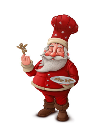 Santa Claus pastry cook with gingerbread man cookies