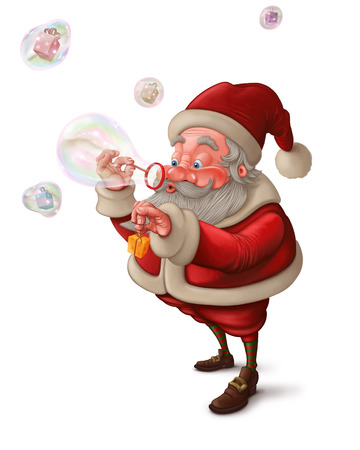Santa Claus put the gift box in to the soap bubbles Stock Photo
