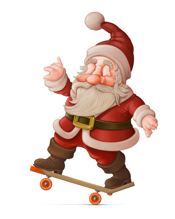 Santa Claus with the skateboard makes acrobatics Stock Photo