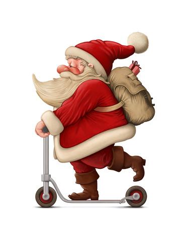 vespa: Papá Noel con la entrega Patinete los regalos Foto de archivo