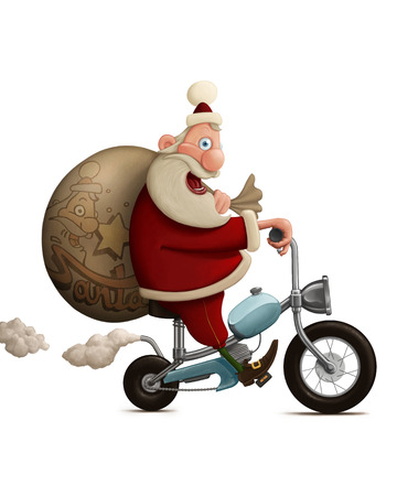 Santa Claus delivery the gifts with motorcycle Stock Photo - 32574798