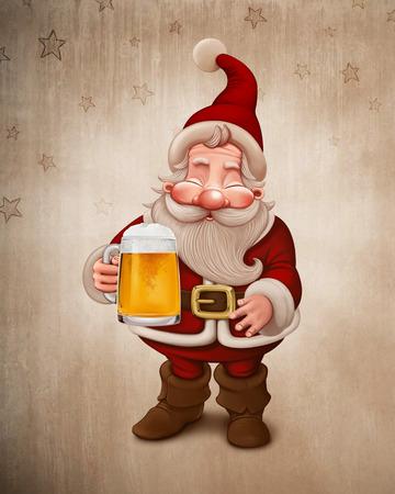 Santa Claus with a big mug of beer