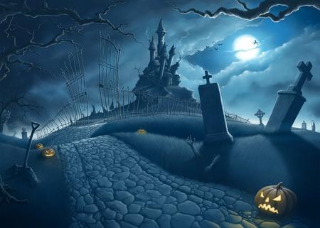 specter: Halloween creepy night in the cemetery illustration Stock Photo