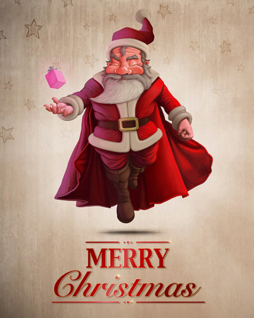 Santa Claus super hero with red cape and the gift box greeting card Stock Photo
