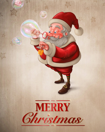 Santa Claus put the gift box in to the soap bubbles Greeting card