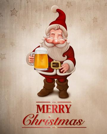 Santa Claus with a big mug of beer greeting card Stock Photo