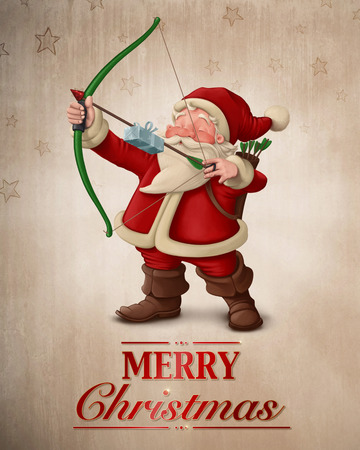 Santa Claus archer with the gift on the arrow greeting card Stock Photo