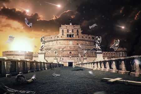 apocalyptic: Apocalyptic scenes to the Rome cityscape matte painting Stock Photo