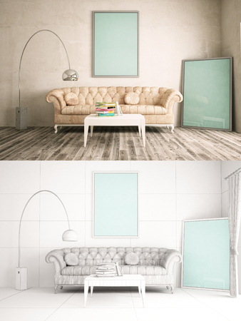 rustic: Home Interior texturized and wire version with poster frame mock-up