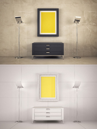 texturized: Home Interior texturized and wire version with poster frame mock-up