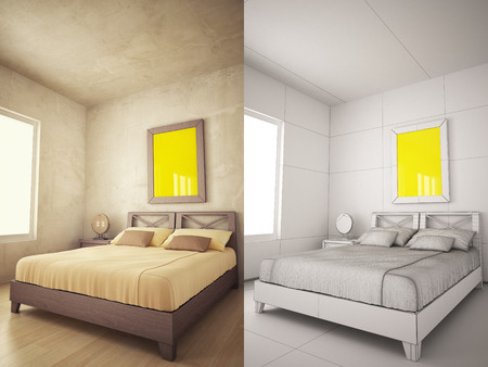 poster bed: Home Interior texturized and wire version with poster frame mock-up