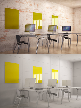 texturized: Office Interior texturized and wire version with poster frame mock-up