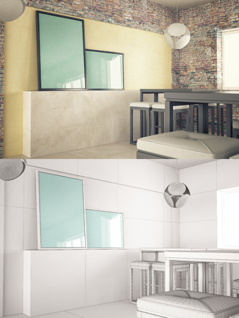 texturized: Interior texturized and wire version with poster frame mock-up Stock Photo