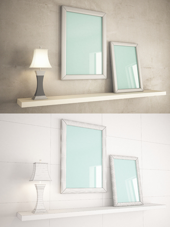 texturized: Home Interior minimal style texturized and wire version with frame mock-up