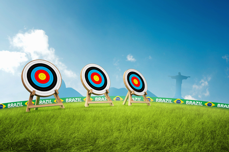 azucar: Archery  discipline with Brazilian landscape background