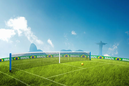 corcovado: Tennis grass field in brazil for the summer games
