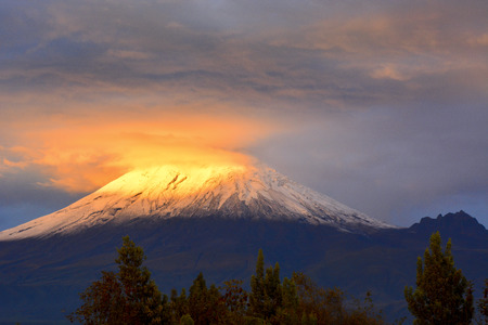 sunset of the cotopaxi volcano Stock fotó