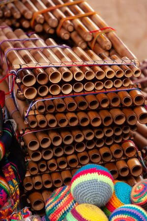 A variety of pan pipes in a local market