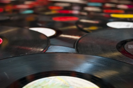 Old scratched vinyl records  Stock Photo