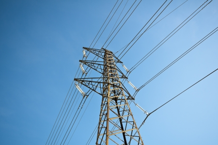 Power line against a blue sky