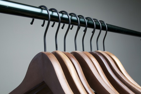 clothes hangers in a row