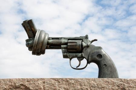 Non Violence sculpture in Malmö Sweden Stock Photo