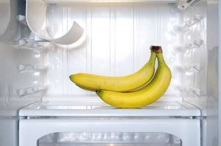 Yellow bananas in a refrigerator