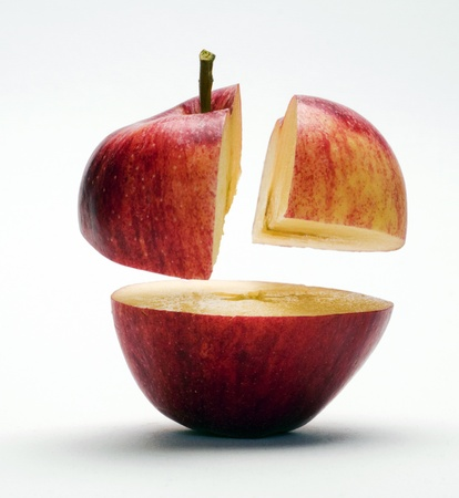Red apple in three parts