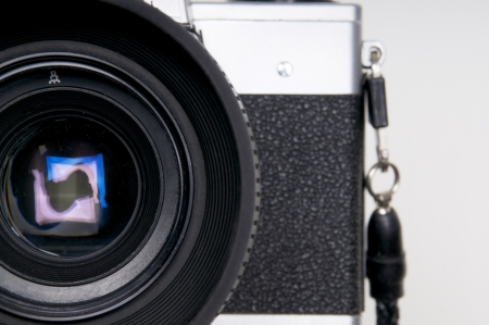 Close up of the lens of an vintage camera Stock Photo - 15779216