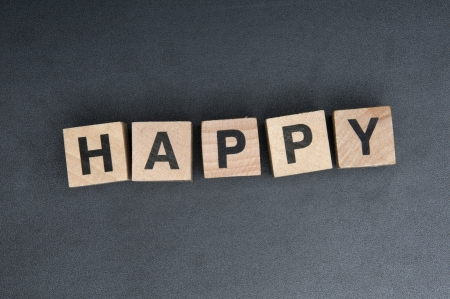 Wooden cubes with letters, spelling happy.