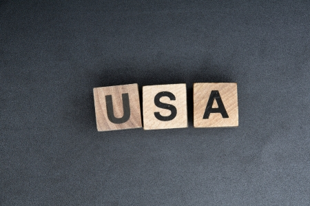 Wooden cubes spelling usa