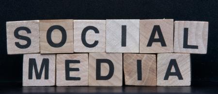 Wooden cubes spelling social media