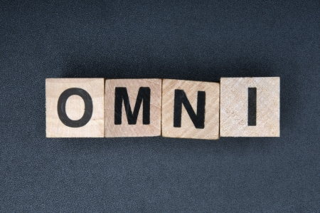 Wooden cubes spelling Omni Stock Photo