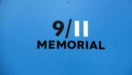 September 11 Memorial sign at Ground Zero Manhattan. Construction site for the new One World Trade Center.