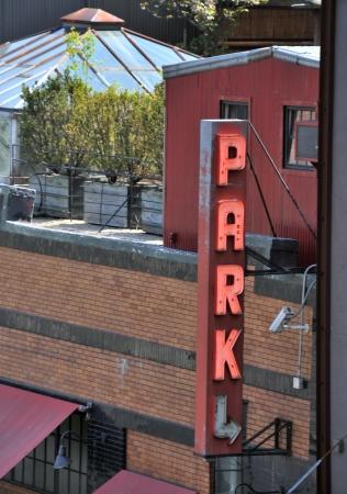 Neon parking sign photo
