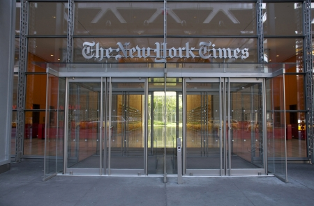 Entrance of the New York Times headquarters building.