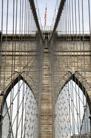 The Brooklyn Bridge connects Manhattan to Brooklyn across the East River and was opened in 1883  The bridge was the first steel-wire suspension bridge, is one of the oldest in the US and spans 6,016 feet  1,834 m   photo