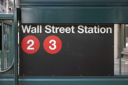 The subway stop for Wall Street in the financial district of midtown Manhattan, New York